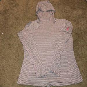 Columbia pink ribbon long sleeve hooded shirt